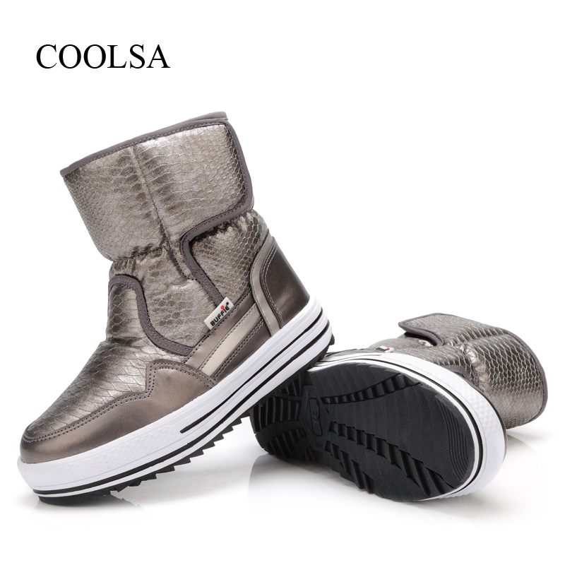 COOLSA Women Winter Warm Non-slip Waterproof Snow Boots Rubber Sole Round Toe Snow Boots Women Mid-Calf Flat Snow Shoes Big Size цена