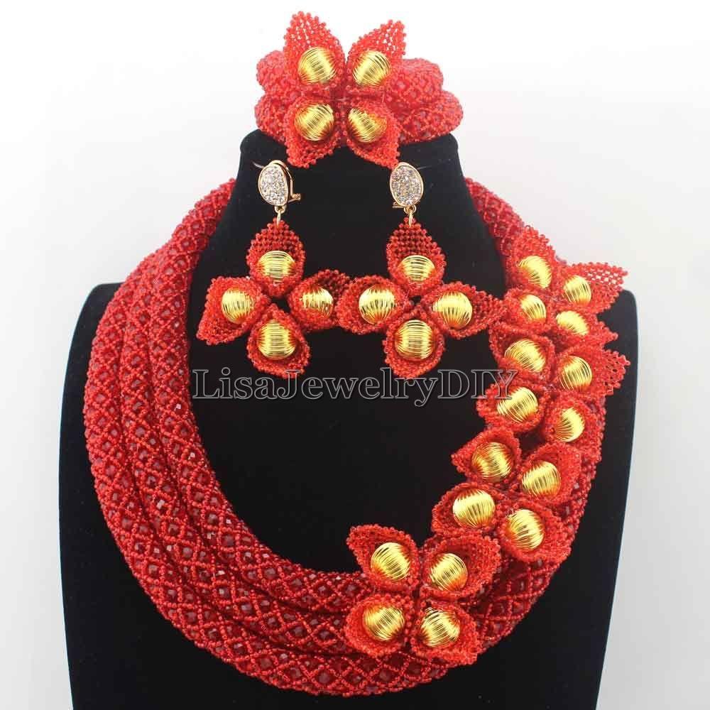 Splendide rouge africain mode perles ensemble de bijoux Chunky cristal mariée femmes bijoux ensemble rouge perles collier livraison gratuite HD8673