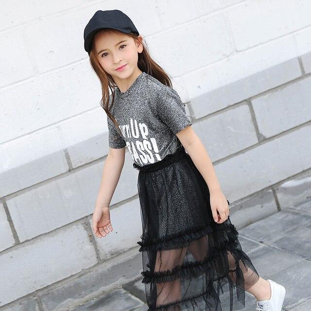 Fashion Teen Girl Suits Summer Short Sleeve T Shirt  Mesh -2801
