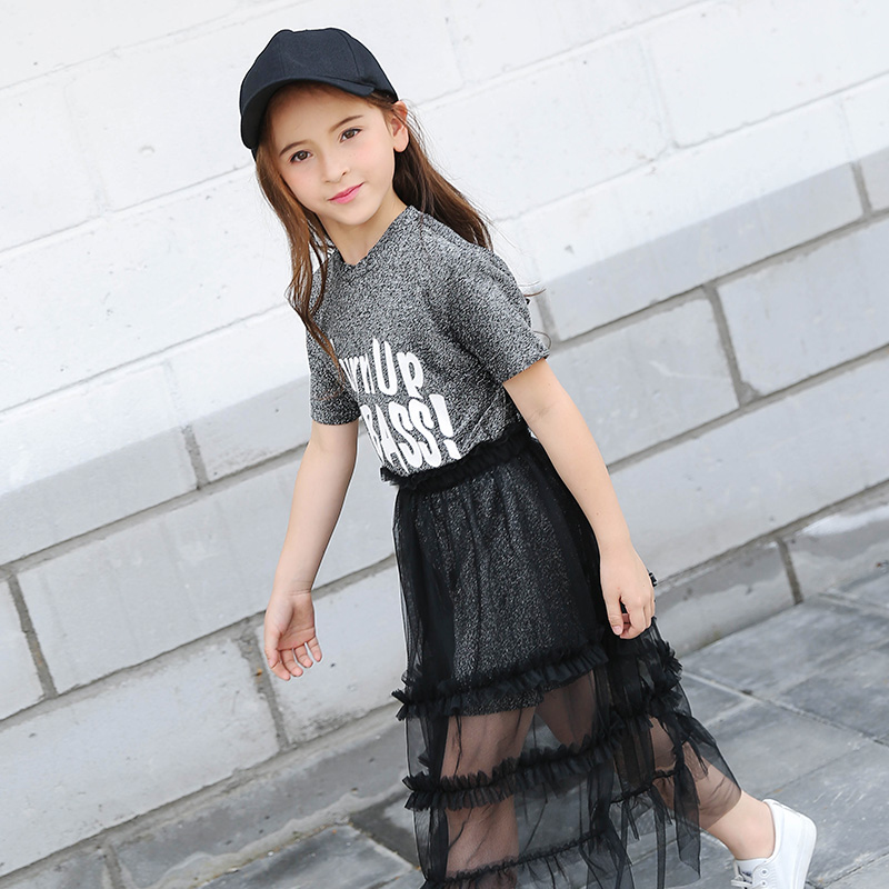 Fashion Teens Girl Suits Summer Short-sleeve Letter T Shirt + Mesh Skirt Two-Pieces Children Clothing Set Age 6 7 8 9 10 11 12 family fashion summer tops 2015 clothers short sleeve t shirt stripe navy style shirt clothes for mother dad and children