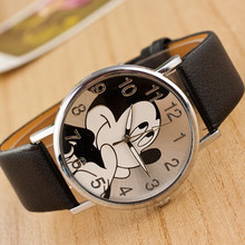 2017 fashion minnie women watch boy girl cartoon watches Unisex quartz watch student Famale imitation PU leather holiday gifts