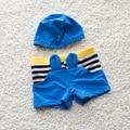Moda Verão Menino Nadar Terno Com Chapéu de Praia Dos Desenhos Animados Calções Tronco Criança Crianças Swimwear Guardas Rush S2083