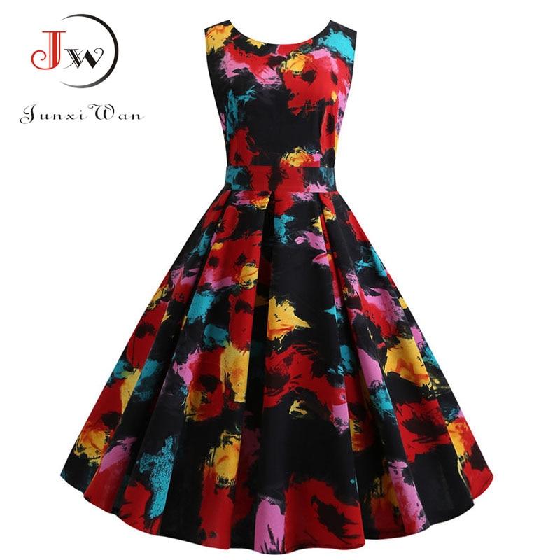 Women Fashion Sleeveless Back V-Neck Summer Dress Robe Casual Floral Print Retro Vintage Big Swing Pinup Party Dress Plus Size