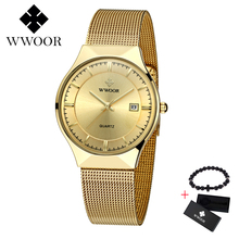 цена на WWOOR Free gift Mens Watches Top Brand Luxury Waterproof Sports Date Ultra Thin Dial Quartz Watch Men Casual Relogio Masculino