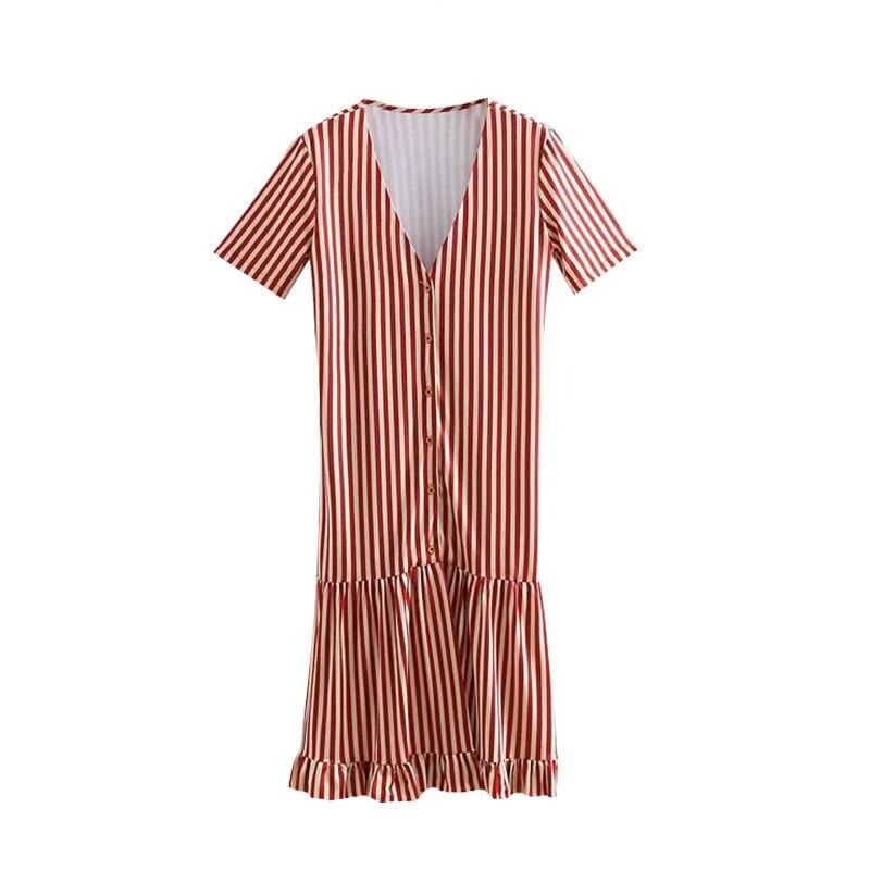 Винтажное элегантное Полосатое миди платье для женщин 2019 модное платье с v образным вырезом и пуговицами в стиле пэчворк с рюшами женские пл