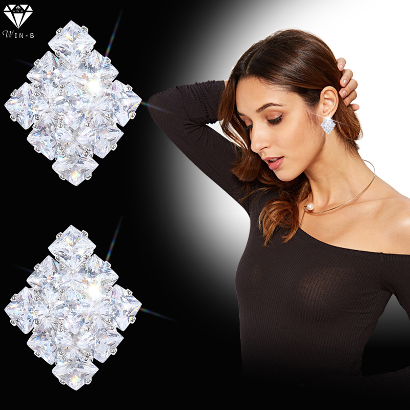 WIN-B Personality AAA Zircon Square Ladies Earring Party Prom Jewelry Earrings Women Sparking Wedding Bridal Engagement