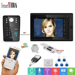 SmartYIBA RFID contraseña 7 pulgadas Monitor Wifi videoportero inalámbrico timbre Cámara sistema de intercomunicación + fuente de alimentación cerradura de puerta