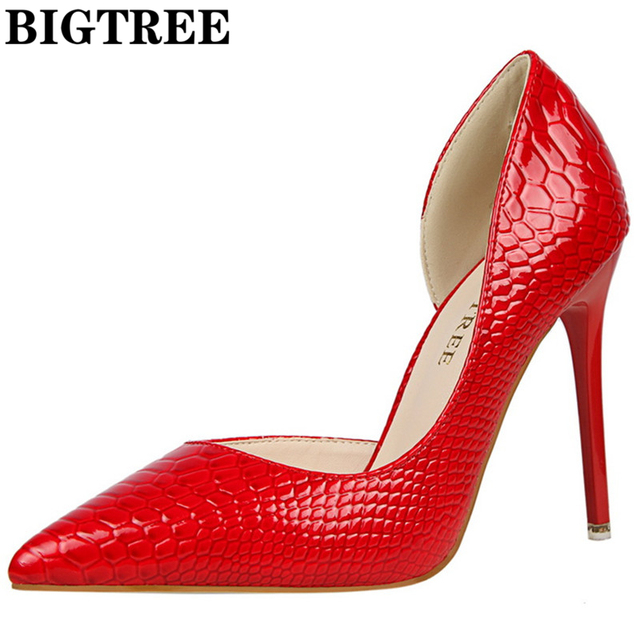 New 2017 Spring Autumn Women Pumps Sexy Red Color High Heels Shoes Fashion Luxury Stone Pattern Wedding Party Shoes DS638-2