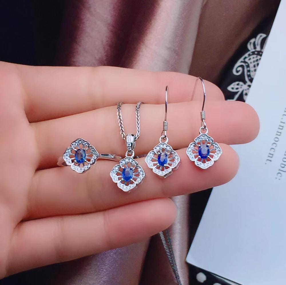 Neue art Blue sapphire edelstein schmuck set einschließlich ring ohrringe halskette mit 925 silber - 6