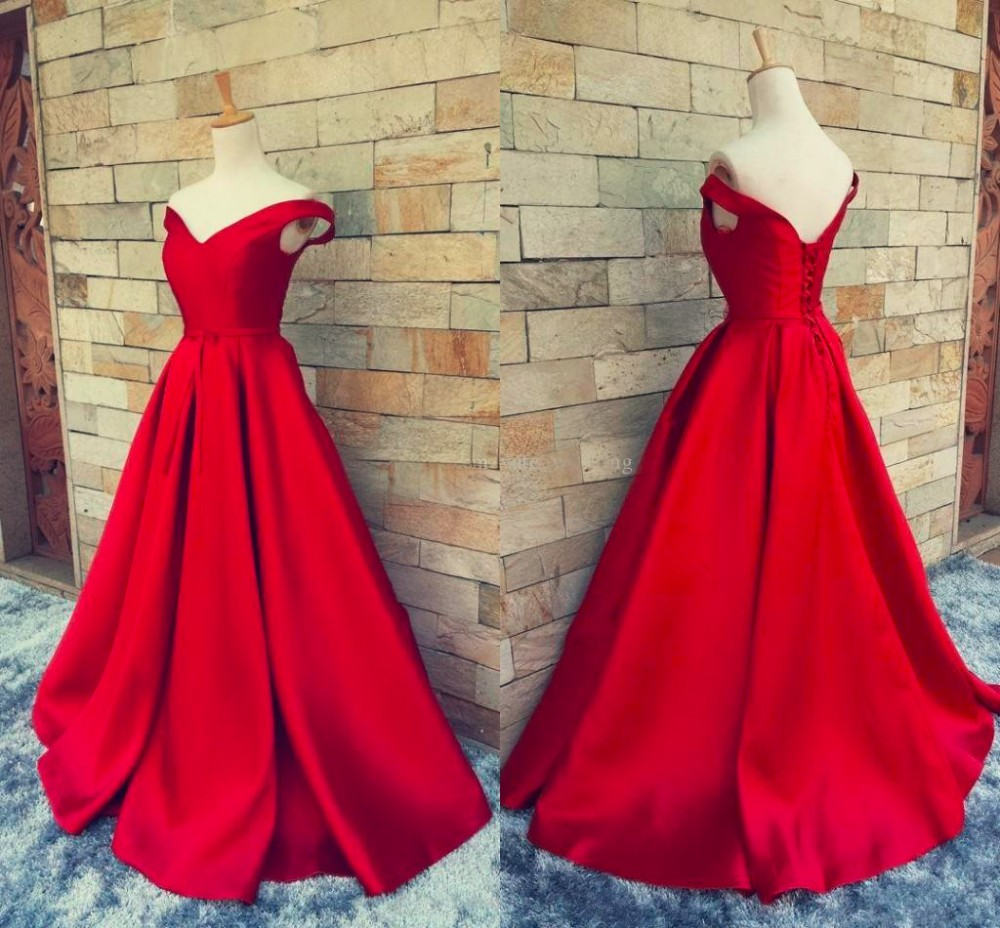 2019 V-Neck Backless   Prom   Long Elegant   Dresses   with A-Line Sweep Train Red   Prom     Dress   Robe De Soiree