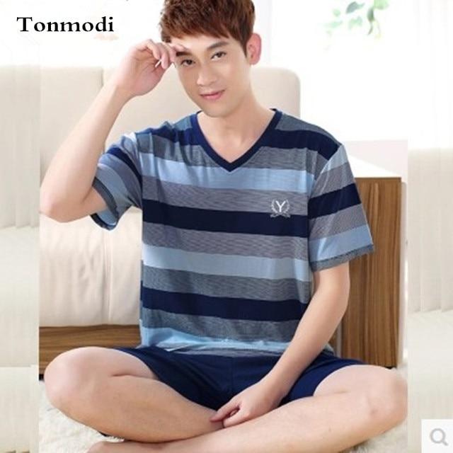 Новые Пижамы Для Мужчин Лето 100% Хлопок Полосатые Пижамы Набор Мужчин Сна Пуловер Пижамы Плюс размер 4XL