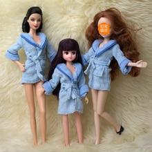 Doll Accessories Blue Plush Bathrobe For Barbie Bathroom Winter Pajama Sleeping Wear Casual Clothes For Barbie Doll House Toy