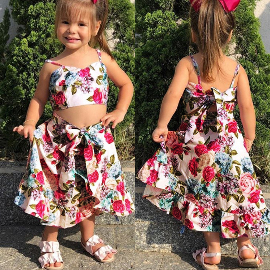 MUQGEW Baby Girl Clothes Toddler Kids Baby Girls Strap Floral Print Tops Irregular Skirt 2PC Sets Dropshipping Roupa Infantil