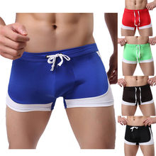 Sexy Men's Boxer Briefs Swimwear Running shorts Beach Underwear Trunk Underpants Swim Quick-drying Swimwear Pants #2J19(China)