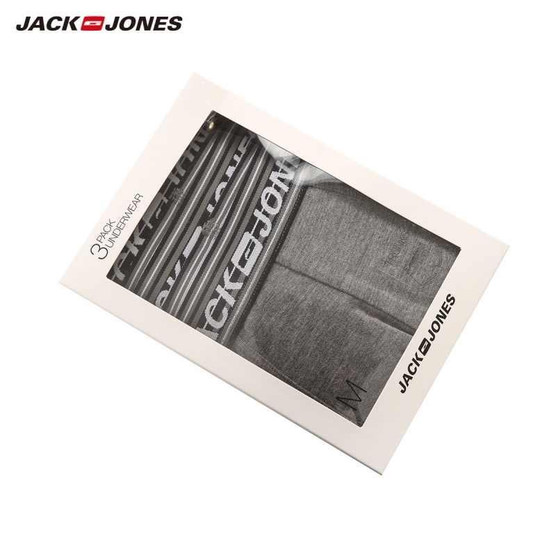 JackJones мужские эластичные шорты Боксеры Мужское нижнее белье 3-pack однотонная Домашняя одежда мужская 2019 Новое поступление-219192522