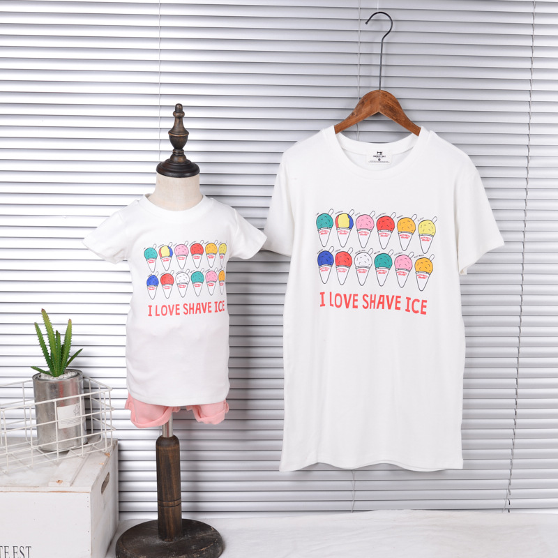 Ice Cream Mom and Daughter Matching Outfits Quick Sleeve Shirts O Neck Tee Household Look Clothes Cotton Trend Household Garments Matching Household Outfits, Low-cost Matching Household Outfits, Ice Cream...