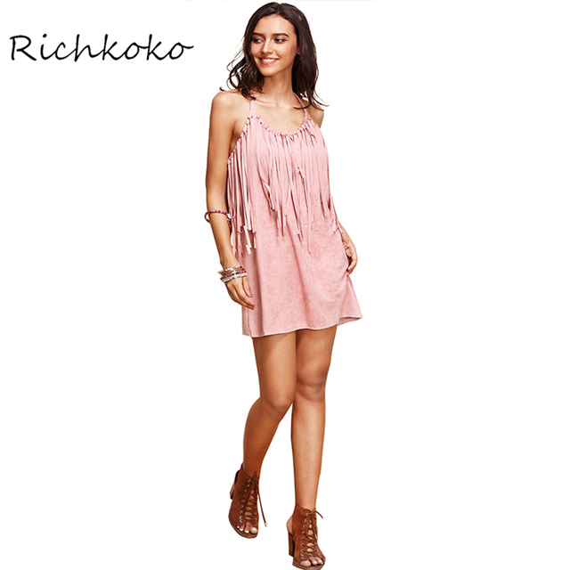 Richkoko Autumn Fashion Women Solid Pink Tassel Faux Suede Sexy Dress Crew  Neck Sleeveless Halter Casual Slim Dresses 33717fafd