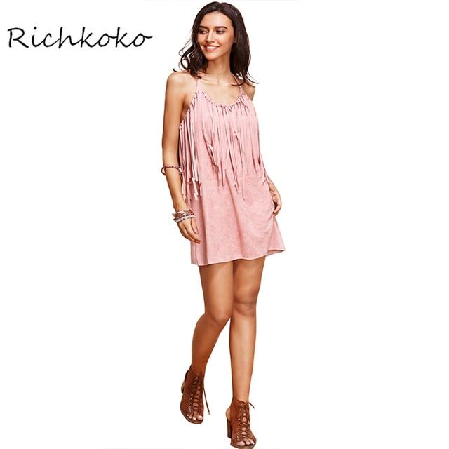 Richkoko Autumn Fashion Women Solid Pink Tassel Faux Suede Sexy Dress Crew  Neck Sleeveless Halter Casual Slim Dresses 33717fafd