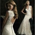 Vintage Wedding Dress 2016 New White/Ivory V-Neck Backless Sweet Soft Mesh Appliques Mermaid Wedding Dress Robe De Mariee Sirene