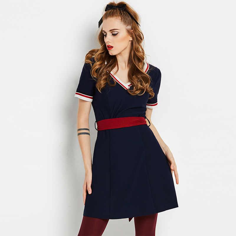 821b673c0e302 Sisjuly vintage dress 1960s autumn V neck dress a line knee length dark  blue office elegant summer girls casual party dress hot