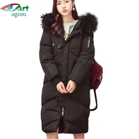 JQNZHNL 2017 New Winter Down Cotton Coat Parkas Women Big Fur Hooded Thicken Cotton Jacket Coats