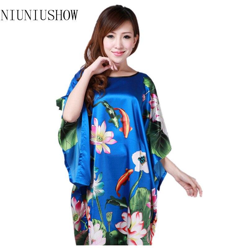 Hot Sale One Size Chinese Women's Faux Silk Robe Dress Nightgown Sexy Summer Nightdress New Style Sleepwear Mujer Pijama T084