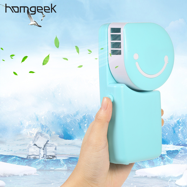 Homgeek Portable Water Cooling Fan Mini Air Conditioner Handheld USB  Rechargeable Desktop Fan For Home Office