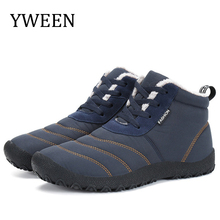 YWEEN Christmas Winter Men Shoes Warm Plush Boots Waterproof Anti-slip Ankle Snow Plus Size zapatos de hombre