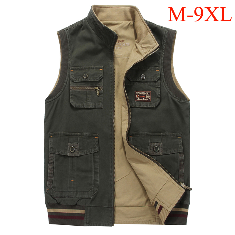 Extra large size M-9XL men's <font><b>vest</b></font> both size wear multi pockets tactical army <font><b>vest</b></font> men colete masculino photographer waistcoat