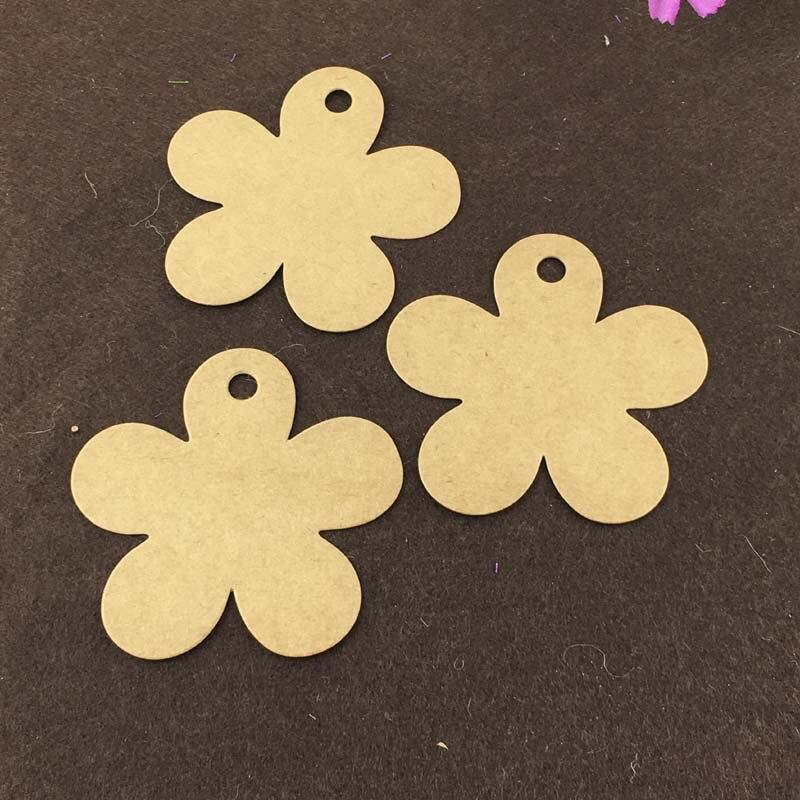400PCS/Lot 8*7.8cm Kraft Paper Flower-shaped Hang Tags With Free Hemp Strings Blank Head Card Luggage Labels Accept Custom Logo