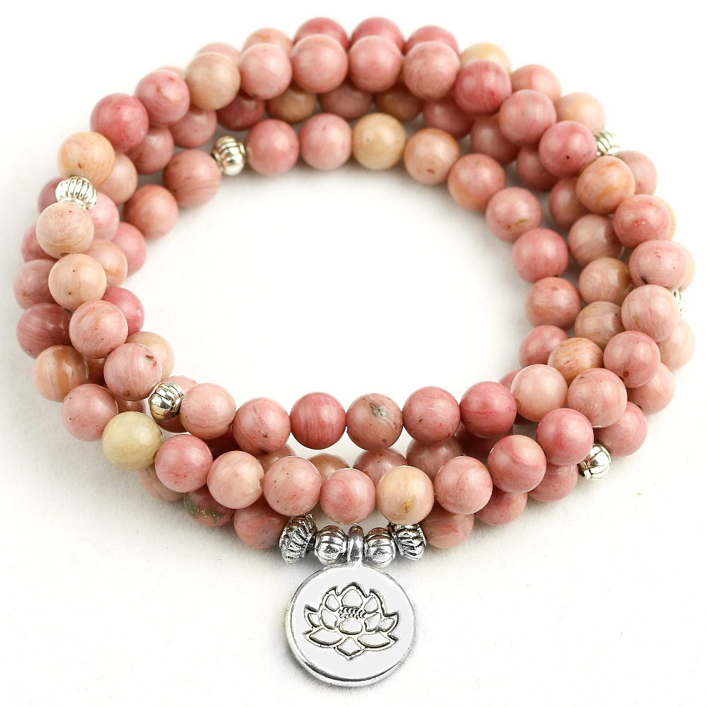 Natural Pink Rhodochrosite 108 Mala Beads Bracelet For Buddhist Prayer Charm Yoga Mediation Bracelet Women Drop shipping