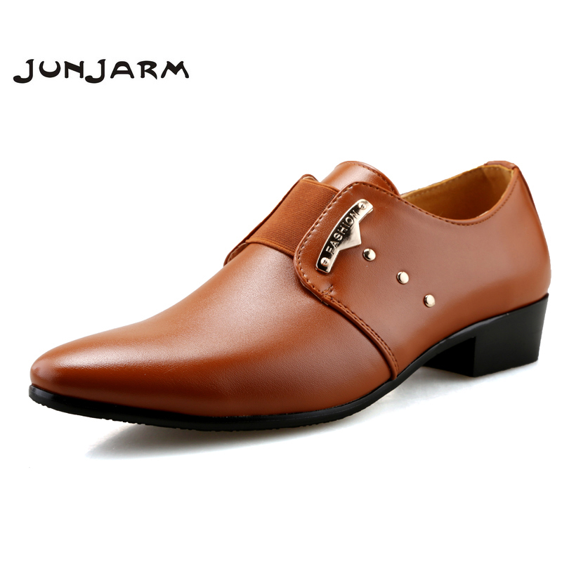 JUNJARM Men Formal Shoes Mens Slip-On Shoes PU Leather Brown Black Elastic Band Men Dress Shoes Office Party Wedding Shoes 2016 new men s fashion genuine leather shoes wedding dress dancing formal office party shoes pointed elastic belt patent brandy