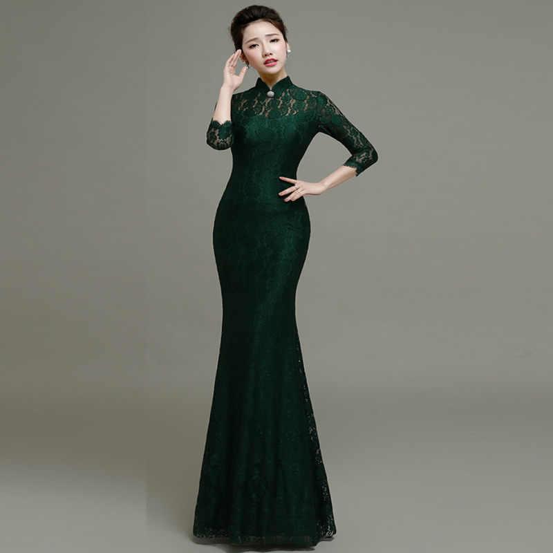 1e4f038f6 ... Elastic Lace Qipao Long Chinese Evening Dress Elegant Women Wedding  Party Dresses Red Mermaid Cheongsam Sexy ...