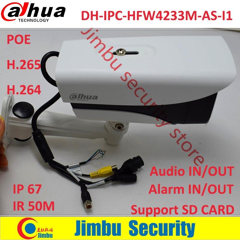 Dahua Original Stellar Camera IPC-HFW4233M-AS-I1 H2.65 2MP POE SD Card slot Audio1/1 Alarm 1/1 In/Out IP67 IR 50M ip camera wholesale dahua dh ipc hdbw4233r as 2mp ir mini dome network ip camera ir poe audio sd card stellar h265 h264 ipc hdbw4233r as