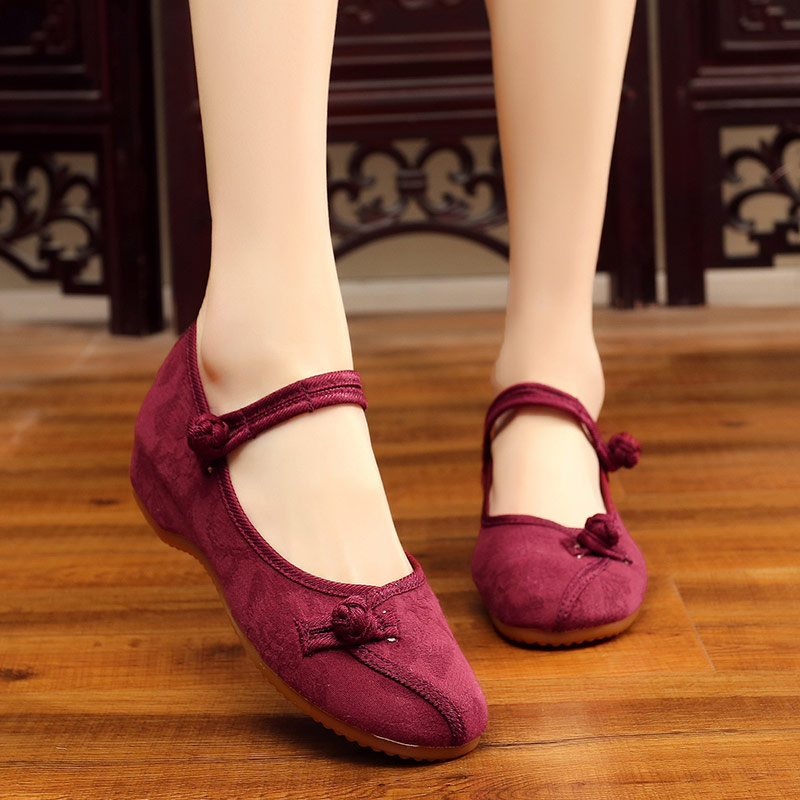 Veowalk Chinese Classic Style Women Cotton Fabric Embroidered Ballet Flats Elegant Ladies Casual Comfort Canvas Walking Shoes