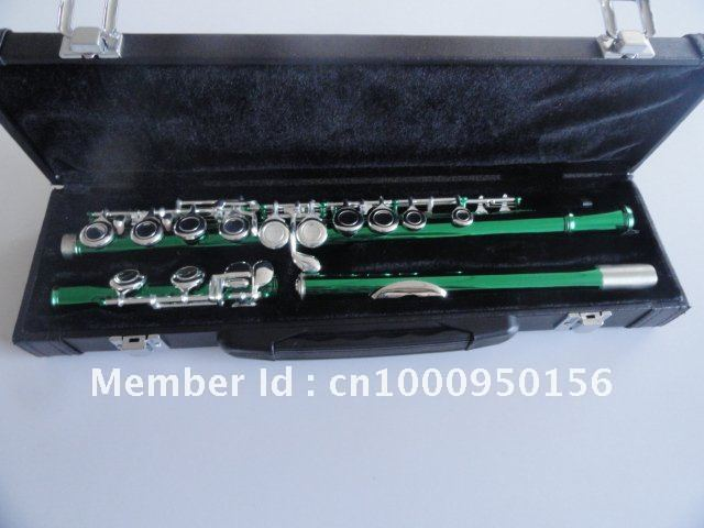 Professional Flute Army Green Silver To Build 16 Hole Closed Wells Plus The E Key Obturator Flute Musical Instrument With Case купить