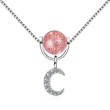 Crescent Star Strawberry Crystal Necklace Female Pink Teach Peach Korean Simple Student Mori Short Clavicle Chain