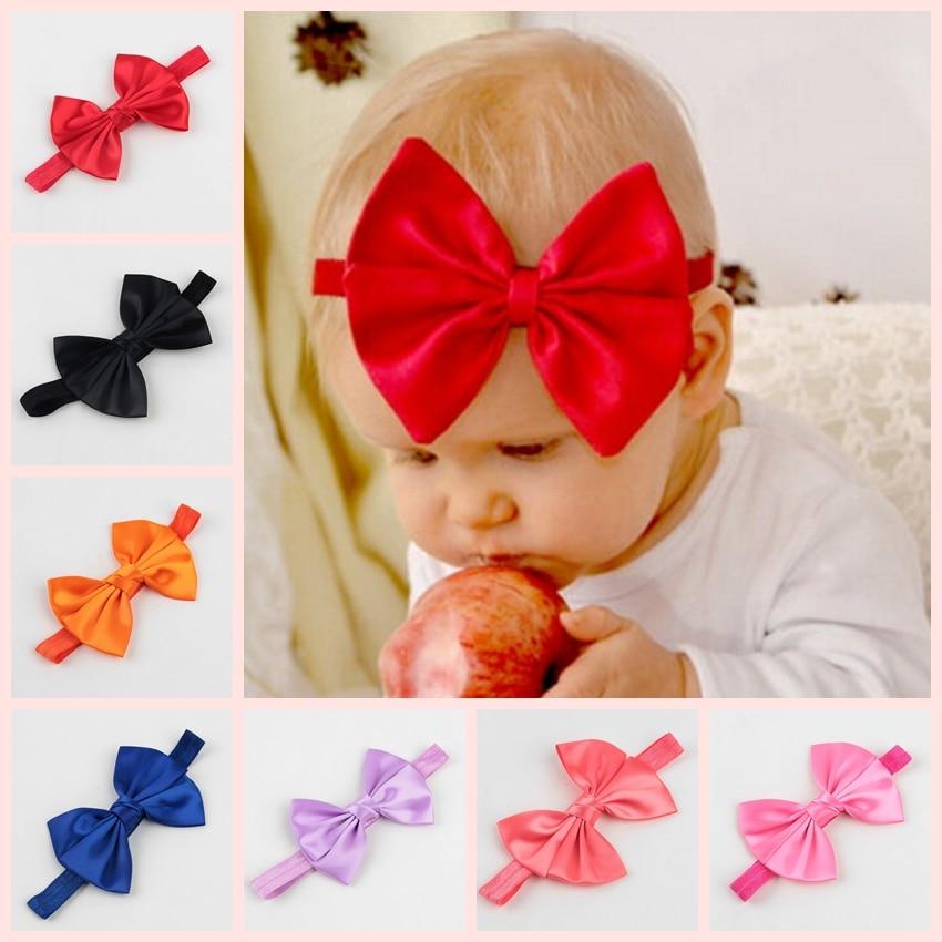 14 Colors Handmade Cute Kids Baby Girls Headband Toddler Infant Silk Bowknot Headbands Children Hair Band Accessories