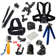 Gopro accessories Set tripod monopod Chest Belt Head Mount Strap For Go pro hero4 3 5 Black Edition set   For SJCAM EKEN H8 H9