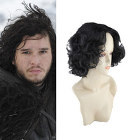 Game Of Thrones Season 7 Jon Snow Cosplay Wigs Halloween Party Stage Black Short Curly Hair