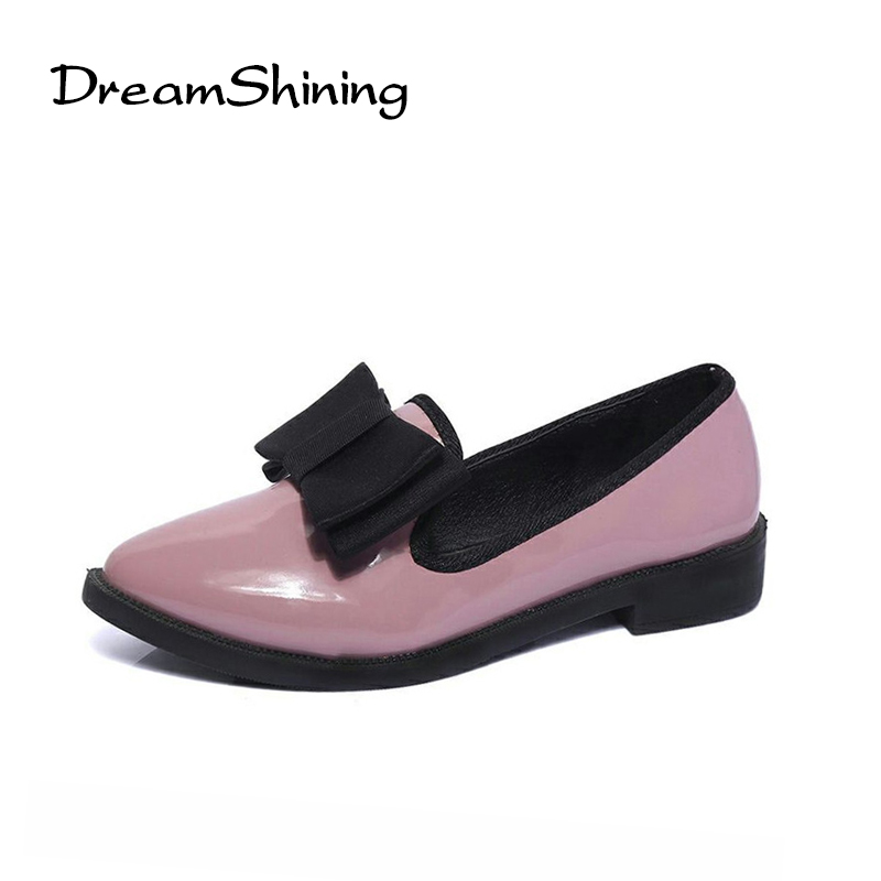 DreamShining High Quality Patent Leather Wine Red Women Causal Pointed Toe Shoes Bow Knot Ladies Flat Loafers Shoes dreamshining high quality patent leather wine red women causal pointed toe shoes bow knot ladies flat loafers shoes