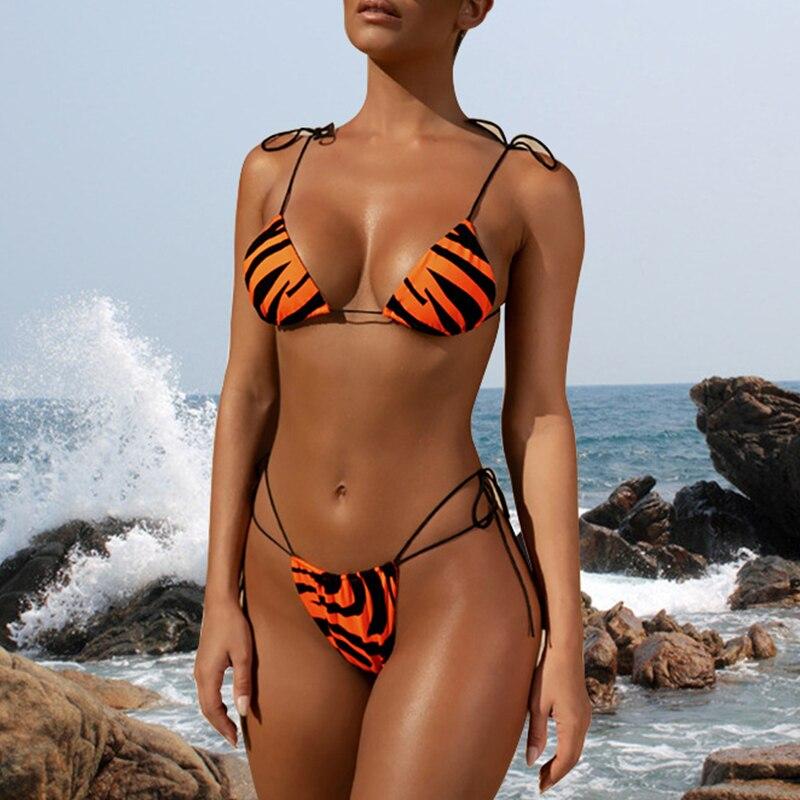 HTB1msuSa21G3KVjSZFkq6yK4XXaH Brazilian bikini thong Micro print bikini Neon swimwear women 2019 bathers Push up 3 piece swimsuit female string bathing suit