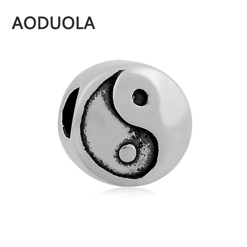 2Pcs Lot Stainless Steel Taiji Silver color Beads DIY Big Hole Bead for Jewelry Making Fit For Pandora Bracelet
