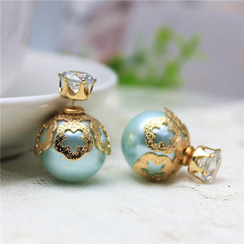 2019 hot design summer style fashion brand jewelry double side stud earrings for women shiny  Zircon earings