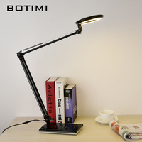 BOTIMI Office Desk Lamp With Adjustable Long Arm Luminaria De Mesa Folding Metal Simple Led Table