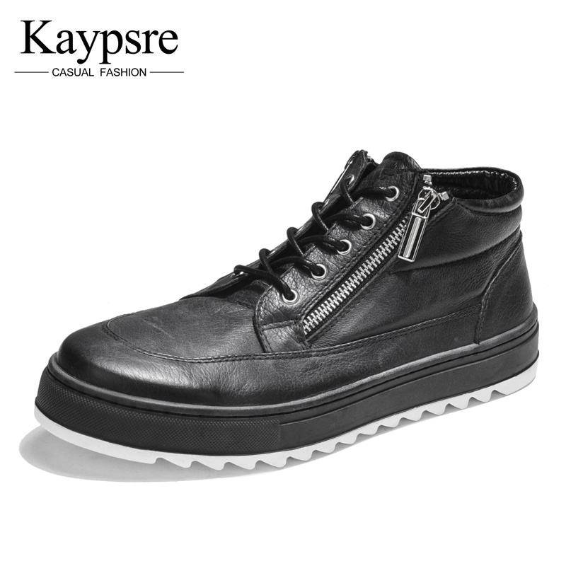Kaypsre spring/autumn fashion casual men shoes Genuine leather zip breathable high-hlep shoes maden high quality european fashion men female shoes spring autumn leather casual shoes wild breathable white three flap shoes