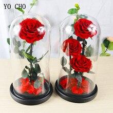 32 см стеклянная крышка свежесконсервированные розы цветы колючая Роза Флорес для свадьбы свадебные вечерние украшения подарок на день Святого Валентина