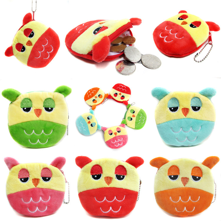 XYDYY NEW Cartoon coin purse Owl painting graffiti key bag children wallet women Kid Change zipper purse Ladies coin wallet
