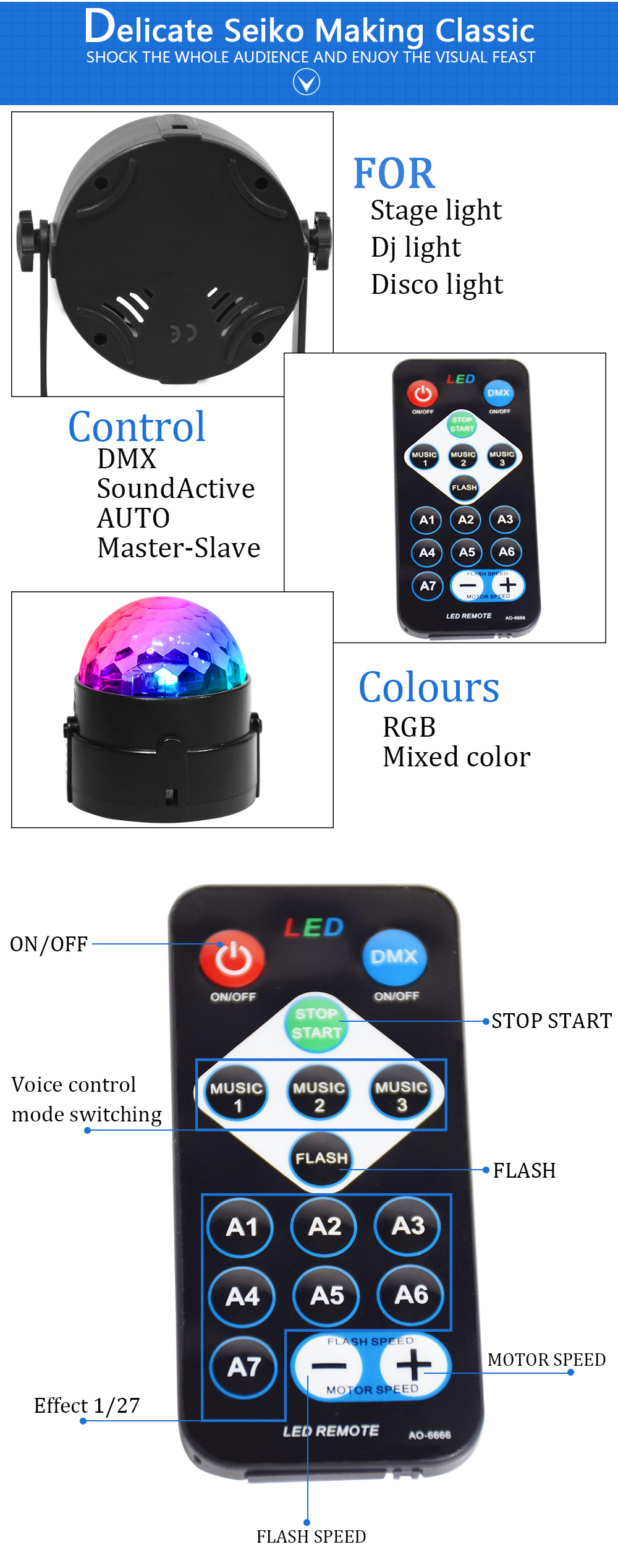 HTB1msugXpT7gK0jSZFpq6yTkpXax - 7 Colors Disco Ball Lumiere 3W Sound Activated Strobe Led RGB Stage Lighting effect Lamp Laser Christmas Dj KTV Light Party Show