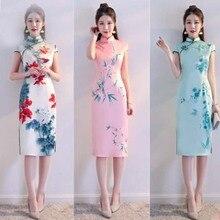 Old Shanghai cheongsam summer 2018 new girl self-cultivation catwalk Chinese style short-sleeved cheongsam dress традиционное китайское платье brand new peking cheongsam ccw005